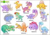 Fototapeta Dinusie - Cartoon cute prehistoric dinosaurs, set of images, funny illustration