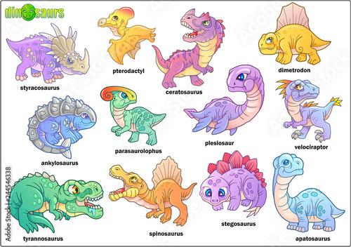 Cartoon cute prehistoric dinosaurs, set of images, funny illustration Canvas Print