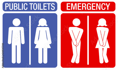 Fotografía Concept of humorous signboards indicating toilets with an illustration showing a man and a woman with an urge to urinate