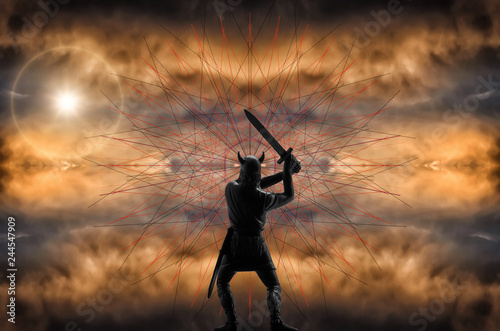 Платно Epic image of the enraged Old Norse God Odin, who swings his sword, graphic patt