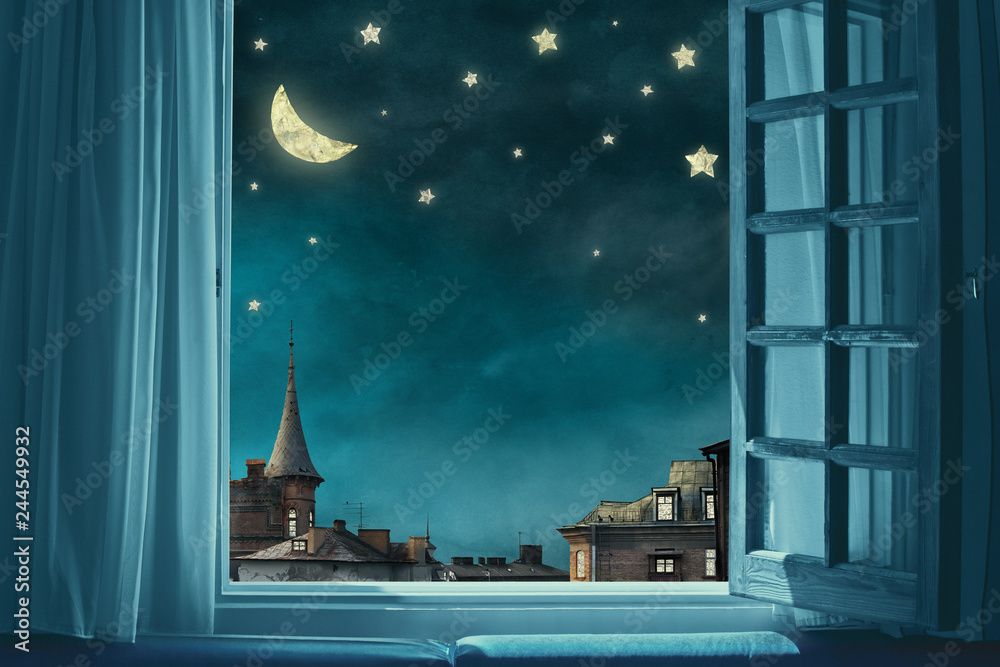 Fototapeta surreal fairy tale art background, view from room with open window, night sky with moon and stars, copy space,