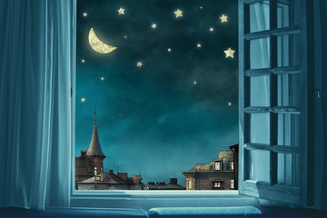 surreal fairy tale art background, view from room with open window, night sky with moon and stars, copy space,