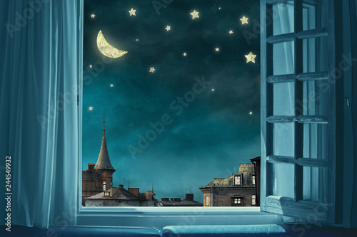 surreal fairy tale art background, view from room with open window, night sky wi Fototapeta