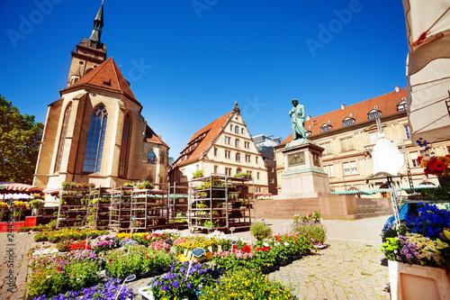 Foto  Stuttgart Schillerplatz square in springtime, Germany
