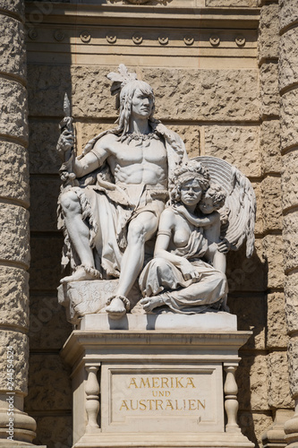 Fényképezés  Allegoric sculptures of America and Australia continents on a front facade of Na