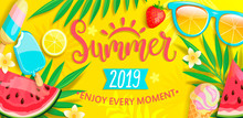 Summer Banner With Symbols For...