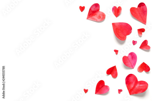 Watercolor hearts.  Love concept for mother's day and valentine's day.  Top view. Copy space