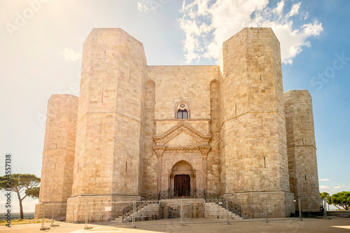 ANDRIA- Castel del Monte, the famous castle built in an octagonal shape by the Holy Roman Emperor Frederick II in the 13th century in Apulia, southeast Italy Canvas Print