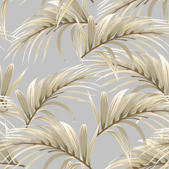 Fototapetaseamless pattern with golden palm leaves on a grey background