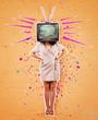 Leinwanddruck Bild - television propaganda art collage