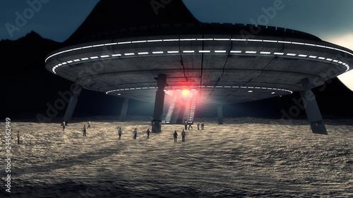 Fotografia 3d render. Futuristic spaceship concept