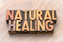 Natural Healing Word Abstract In Wood Type
