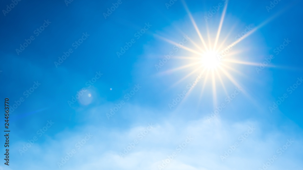 Fototapety, obrazy: Summer background, wonderful blue sky with bright sun