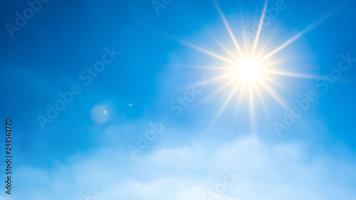 Fotografie, Obraz  Summer background, wonderful blue sky with bright sun