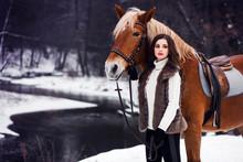 Lady Riding A Horse, Winter Wa...