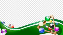 Billiard Wave Green. Tv Size Banner. Vector Clip Art Illustration.