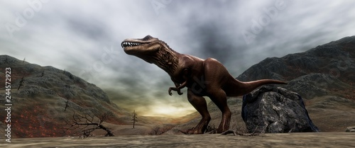 Photo  Extremely detailed and realistic high resolution 3d illustration of a T-Rex duri