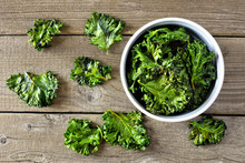 Bowl Of Healthy Kale Chips. To...