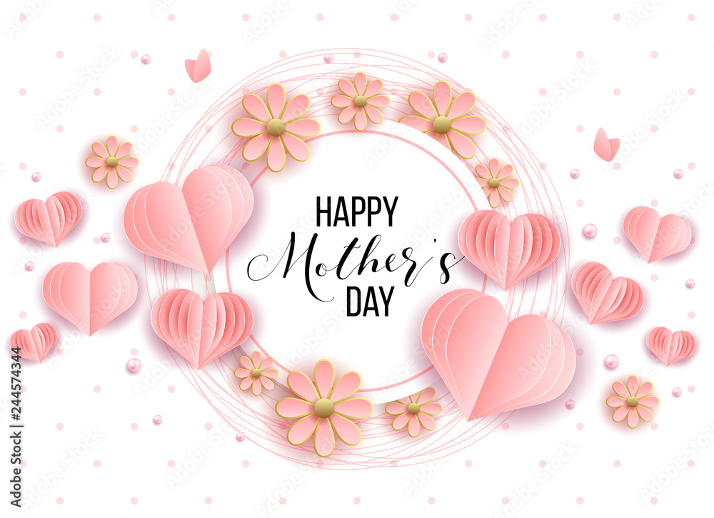 Fototapeta Happy mother's day layout design with roses, lettering, ribbon, frame, dotted background. Vector illustration.  Best mom / mum ever cute feminine design for menu, flyer, card, invitation.