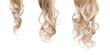 Leinwandbild Motiv Blond long wavy hair on a white background. Growth process step by step