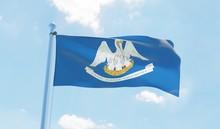 Luisiana (USA) Flag Waving Against Blue Sky. 3d Image