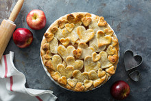 Apple Pie Topped With Hearts D...