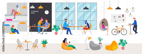 Fototapeta Co-working space, concept illustration. Young people working on laptops and computers on shared modern office workplace. Vector flat style illustration obraz
