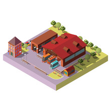 Bus Depot Building 3d Isometric Projection Vector Icon. Buses Standing In Hangars, Waiting To Go On Route Cross Section Illustration. City Public Transport Infrastructure, Cartography Design Element