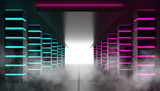 Against the background of an empty dark room, a corridor with neon glowing pink and blue piles. Searchlight, blue laser beams, smoke. 3d illustration - 244578773
