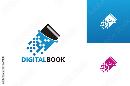 Digital Book Logo Template Design Vector Emblem Design