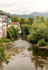 Fototapeta na wymiar River in the Pyrenees mountains in Navarre in a cloudy day