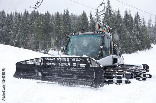 New modern snow plow at mountain resort
