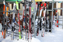Stands With Ski Equipment For Rent Outdoors. Winter Vacation