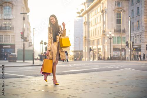 Photo  Elegant woman walking in a big city, carrying shopping bags