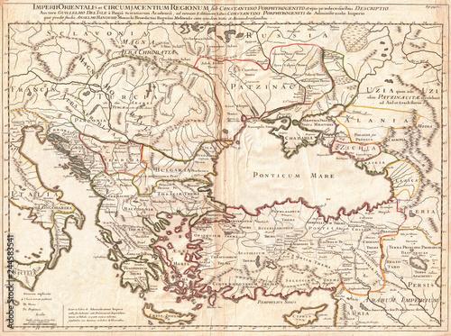 Cadres-photo bureau Carte du monde 1715, De L'Isle Map of the Eastern Roman Empire under Constantine, Asia Minor, Black Sea, Balkans