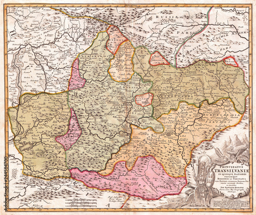 1720, Homann Map of Transylvania, Romania Canvas Print