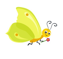Yellow Butterfly Limb Isolated On White Background. Funny Cute Cartoon Character. Vector Illustration In Flat Style.