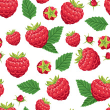Raspberry Seamless Pattern On White Background. Red Berries And Green Leaves. Vector Illustration Of Food In Cartoon Flay Style.