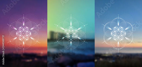 Fotografie, Obraz  Set of vector templates of cards or poster; Spiritual sacred geometry; Abstract geometric shapes based on ancient symbol - flower of life on photographic background; Yoga, meditation and relax