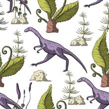 Compsognathus Dinosaur Seamles...