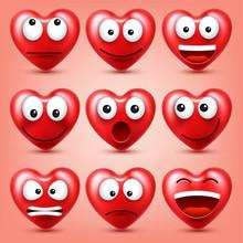 Heart Smiley Emoji Vector Set ...