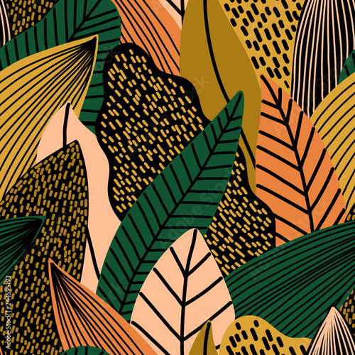 Colorful seamless pattern of tropical exotic leaves
