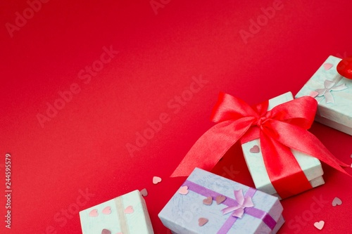 Many Colorful Gift Boxes On Red Background Valentine S Day