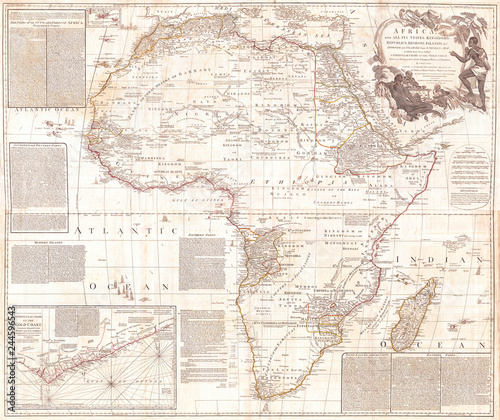 Fotografía  1794, Boulton and Anville Wall Map of Africa, most important 18th cntry Map of A