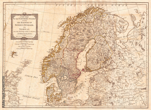 Fotografie, Obraz 1794, Laurie and Whittle Map of Norway, Sweden, Denmark and Finland, 1794 - 1812