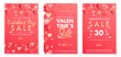 Valentines Day special offer banners with different hearts and golden foil elements.Saletemplates perfect for prints, flyers, banners, promotions, special offers and more.Vector Valentines promos.