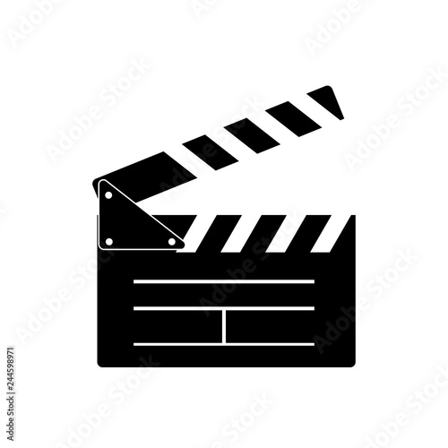 Canvas Print Cinema clapperboard icon flat style. Vector design element