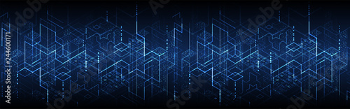 Fotografía  Isometric big data flow processing concept, cloud database