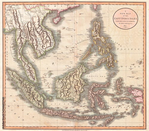 1801, Cary Map of the East Indies and Southeast Asia ...