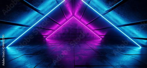 Photographie Sci Fi Futuristic Modern Elegant Triangle Shaped Grunge Reflective Concrete Tunn